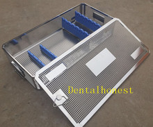 Stainless steel Laparoscope sterilization tray case surgical instrument dental stainless box tray case holder for implant drill bur sterilization