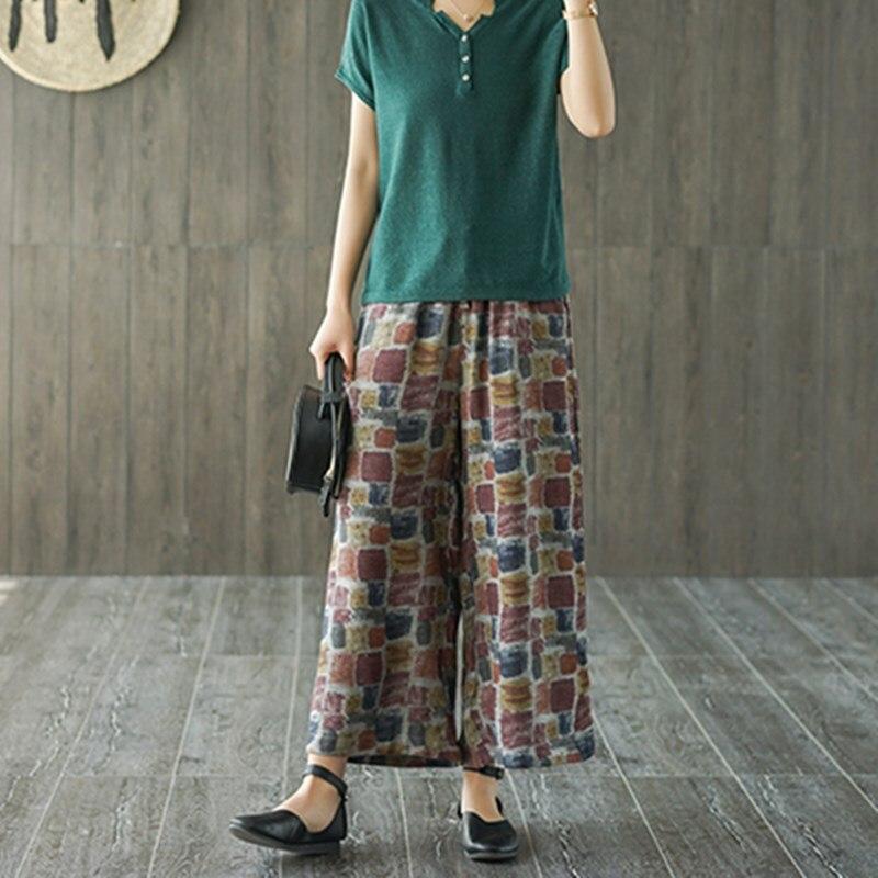 UPONACT Women Cotton Linen Wide Leg Pants Bohemian Pockets Casual Elastic Waist Loose