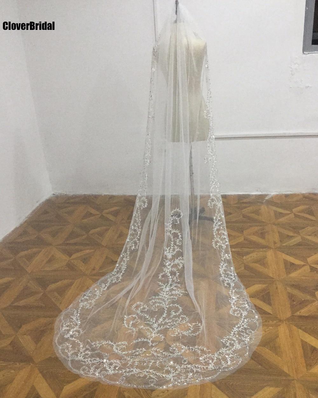 One layer embroidery beaded ivory luxury church veils veu de noiva longo wedding veil long