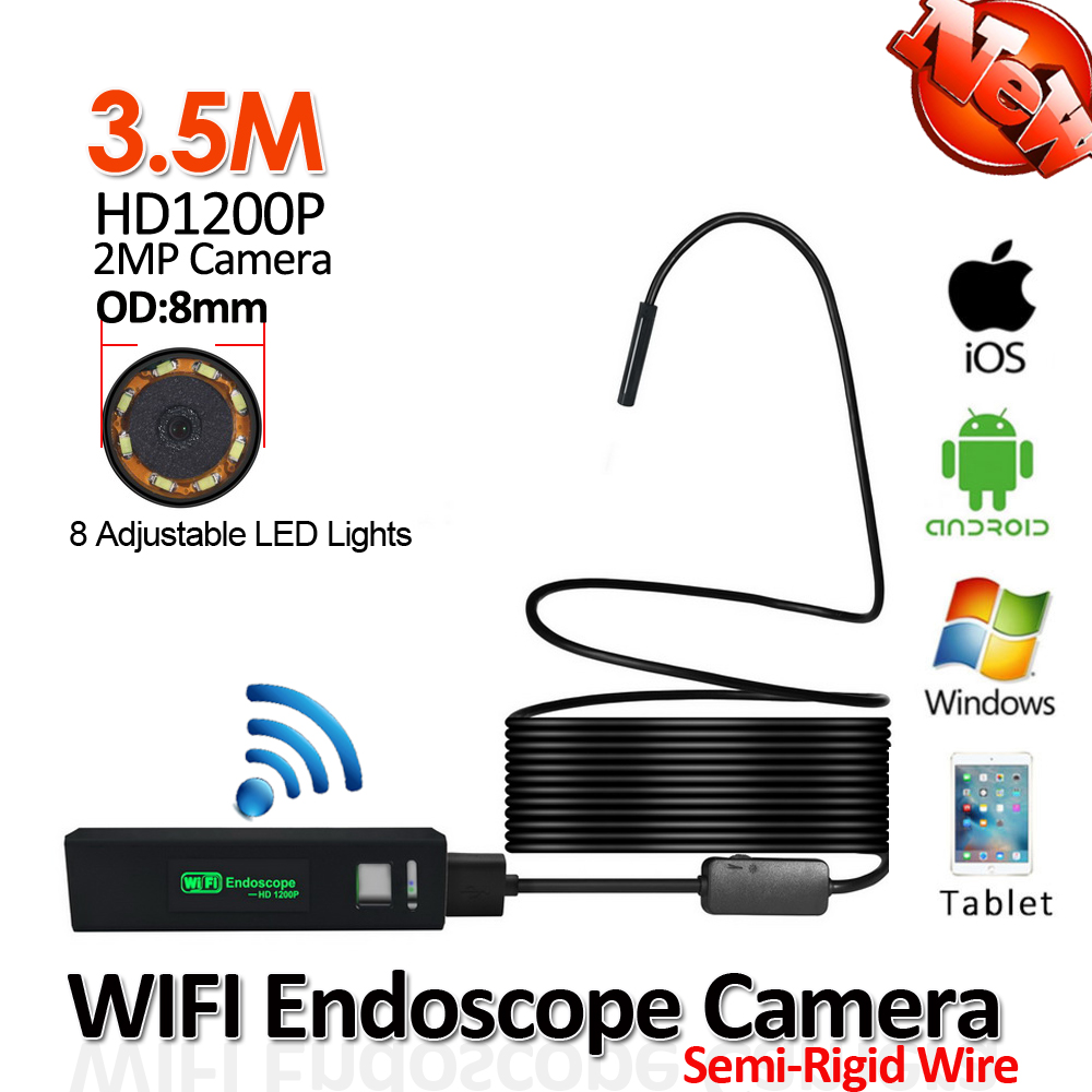 2MP 1200P 3.5M Hard Cable Snake USB WIFI Endoscope Camera 8mm Lens Android iPhone WIFI Wireless Tube Inspection Borescope Camera 2017 new 8led 7m hard flexible snake usb wifi android ios iphone endoscope camera iphone borecope pipe inspection hd720p camera