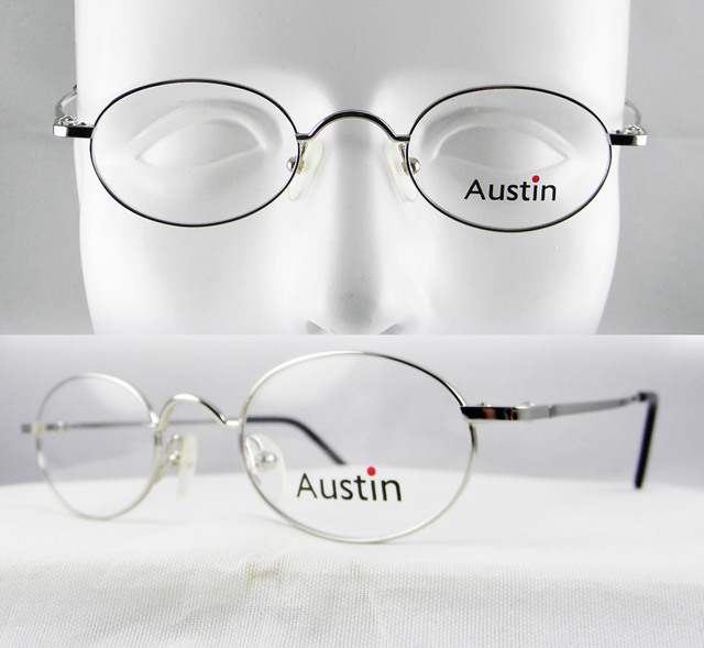 f0dbf28a5d519 VINTAGE STYLE ROUND OVAL SILVER MEN WOMEN KID STUDENTS eyeglass frame OPTICAL  PRESCRIPTION LENS-ABLE SMALL MEDIUM FACE METAL