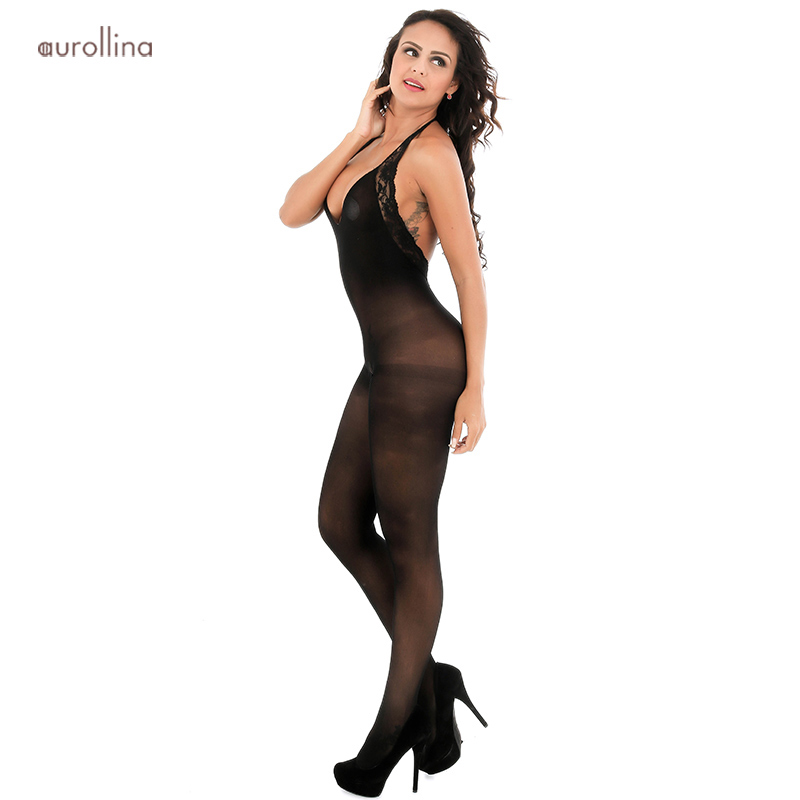 Sexy Deep V Neckline Nightie Dress Silk Nylon Bodystocking Open Crotch Lingerie Lace Embroidery Festish Stockings (2)