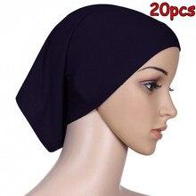 D 2 20pcs Высокое качество хлопок мусульманская шапочка под хиджаб крышка для камеры хиджаб Внутренняя крышка можно выбрать цвета