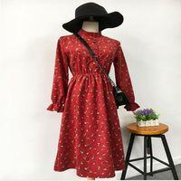 High Quality Elegant New Fashion Women Spring Autumn Vintage Stand Long Sleeved Printing Elastic Waist Corduroy