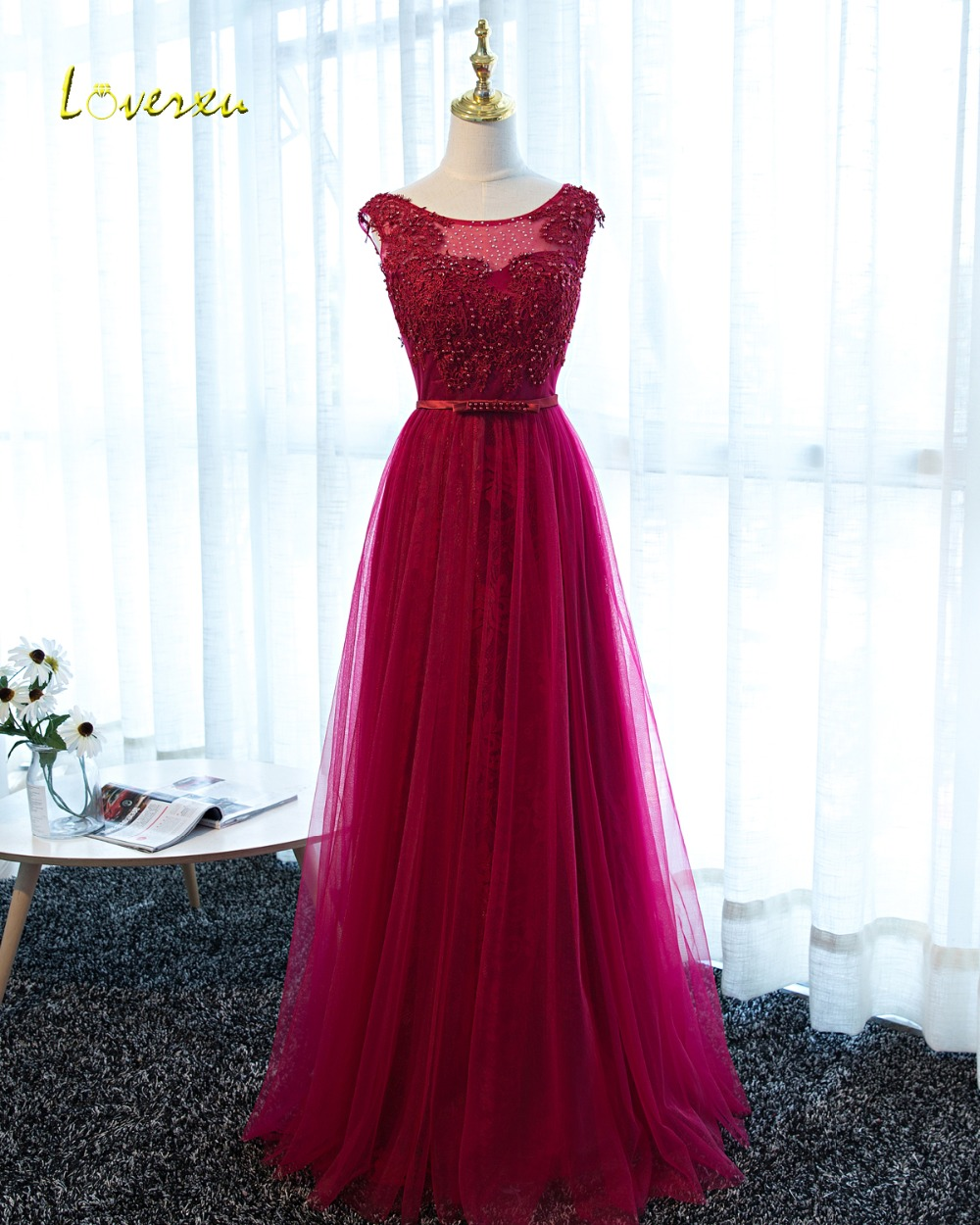 Loverxu Romantic Scoop Neck Beaded Burgundy Evening Dress 2019 Appliques Cap Sleeve Lace A-Line Formal Party Gown Robe De Soiree