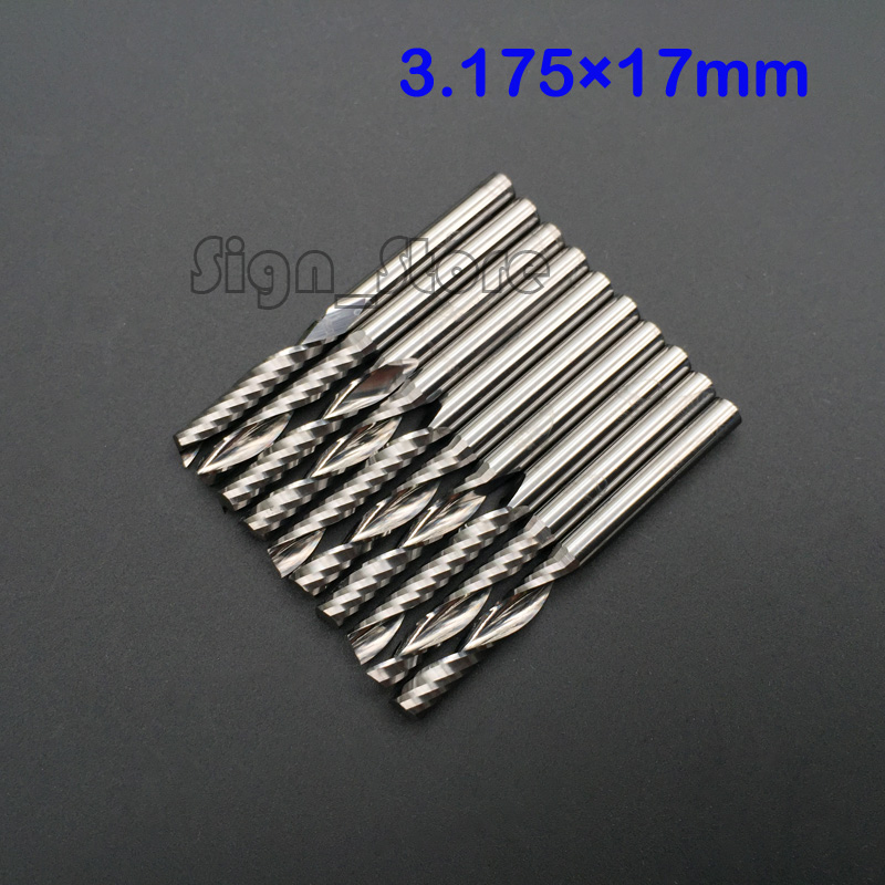 10pcs 3.175x17MM Single Flute CNC Router Bits Milling Tools Cutter,  Carbide End Mill Cutting Tool 8 35mm super hard corn teeth end mill milling cutter cnc router bits tools pcb printed circuit board cutter on hdf fiber glass