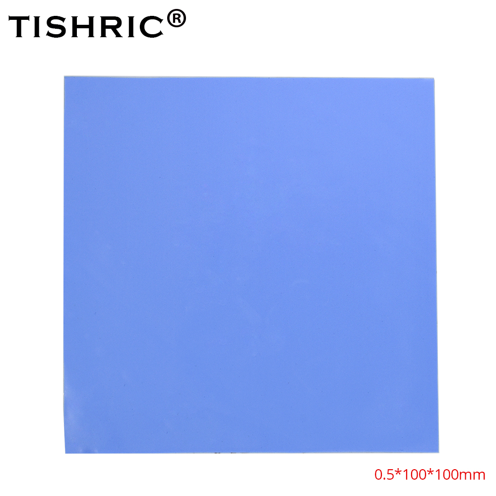 TISHRIC GPU CPU Cooler Conductive Silicone Heatsink Thermal Pad 0.5mm 10*10 PC Fan Cooling Heat Sink Grease Paste