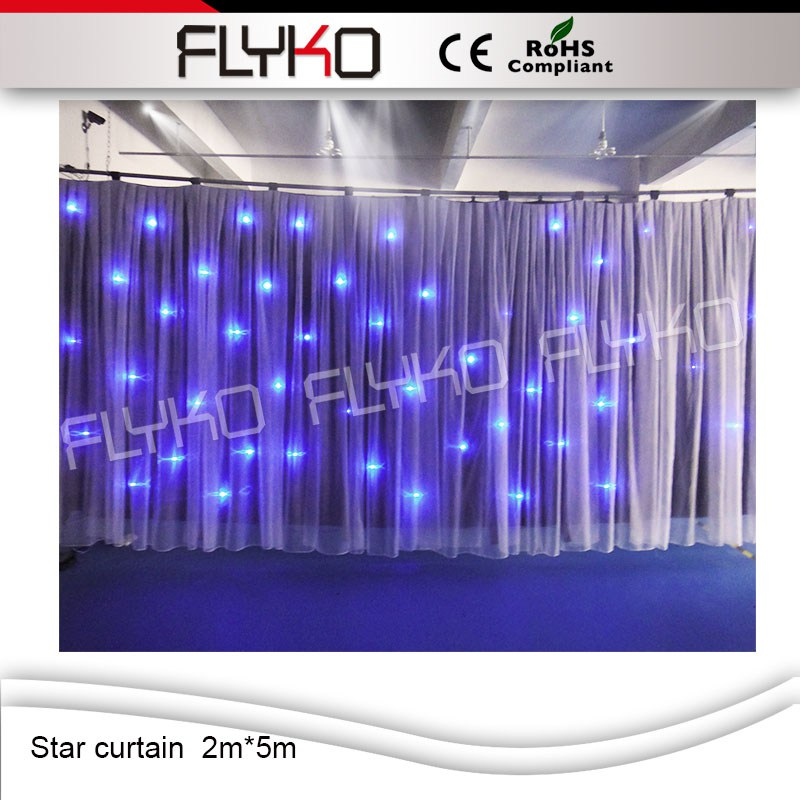 Flyko 2mx5m led star curtain for wedding party nightclub show ktv event dj birthday stage