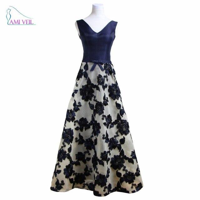 Marine blau langes Kleid Floral Abendkleider Designer Red Prom ...