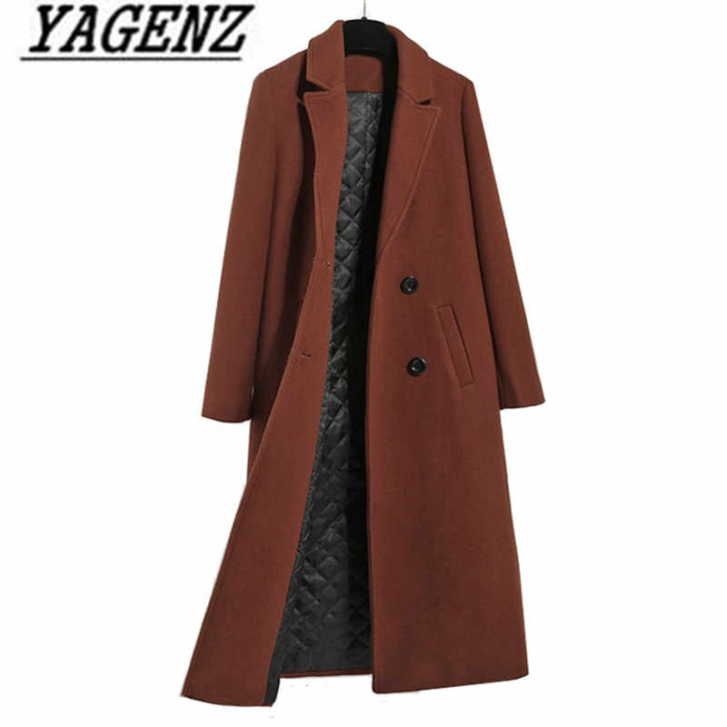 Caramel color Women's Wool Jacket Coats 2019 Fashion Casual Slim Thicken Warm Long Outerwear coat Autumn/winter Wool Lady Coats