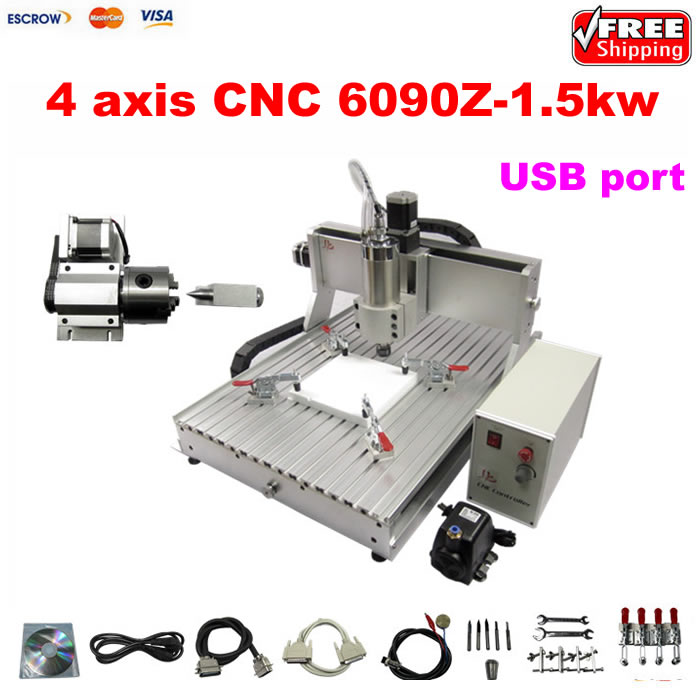 Best high speed 1500W 4 axis CNC 6090 router 3D cnc cutting milling machine for wooden stone metal with USB port jft professional wood cutting machine 3 axis cnc router usb 2 0 port engraver machine high precision ball screw 6090