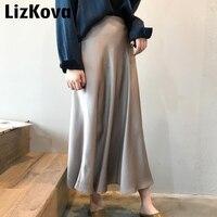 2019 Весенняя женская атласная юбка с высокой талией, длинная юбка цвета металлик, блестящая шелковая имитация миди юбка