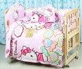 Promoción! 7 unids Hello Kitty bebé cuna lecho 100% de algodón cuna conjunto sábana ropa de cama de bebé ( parachoques + funda de edredón + colchón + almohada )