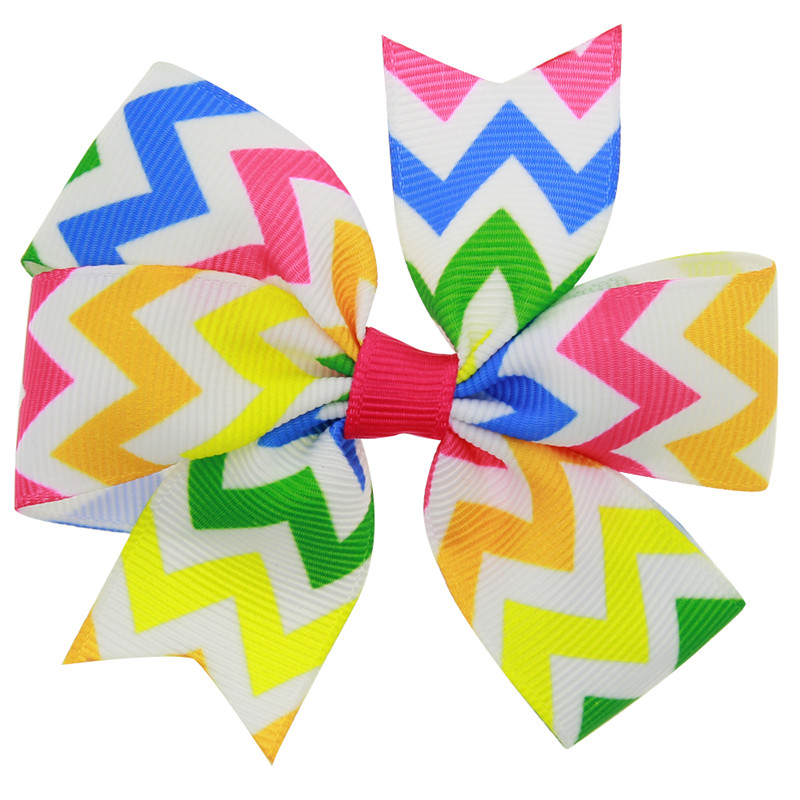1PCS Bohemian Style Rainbow Waves Handmade Creative Design Hair Bow Best Party Dress Up Hairpin for Kids Girls DIY Clip 2017