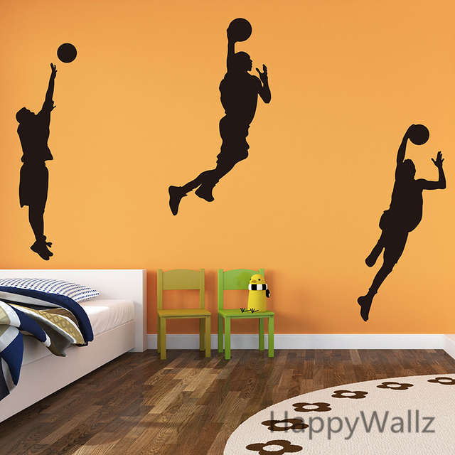 Basketball Player Wall Decals Boys Wall Stickers DIY Decorative Sports Wall  Decors Easy Wall Art S13