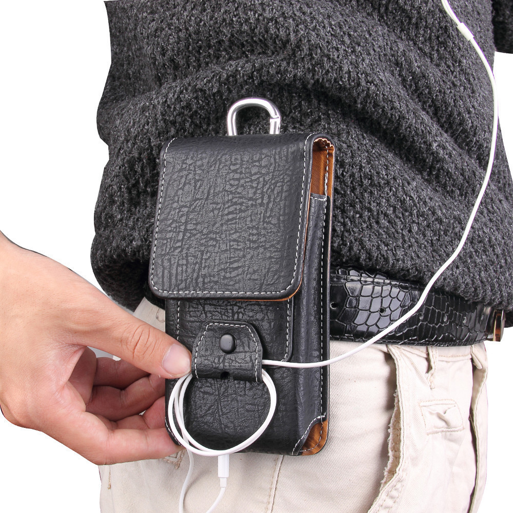 Universal Pouch Leather Phone Case For <font><b>Iphone</b></font> <font><b>Xs</b></font> <font><b>X</b></font> 6 7 8 Plus Waist Bag Magnetic Holster <font><b>Belt</b></font> Clip Phone Cover For Redmi 5 Plus image