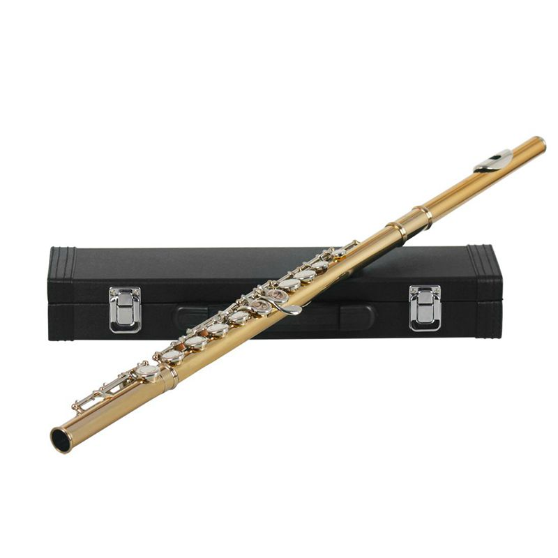 Western Concert Flute 16 Holes C Key Cupronickel Musical Instrument with Cleaning Cloth Stick Gloves Screwdriver Gold