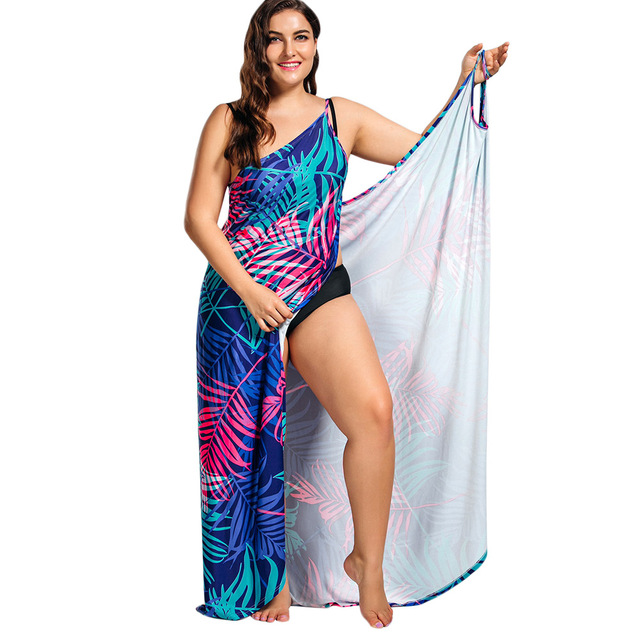b5bd3c8c556 Kenancy Plus Size Tropical Leaf Print Plus Size Behemia Dress Summer Beach  Casual One pieces Wrap Dress Boho Party Vestidos