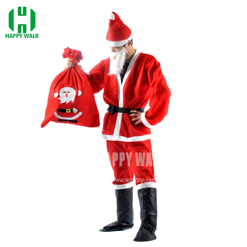 2019 Free Shipping 7 in 1 Red Mens Christmas Santa Claus  Costumes For Men Adult Novelty Cloth Santa Claus Costume Clothes Suit