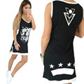 Плюс Размер Femininas Летняя Одежда Party Dress Sexy Women Casual Мода Рукавов Печатных Жилет Dress Vintage Платья