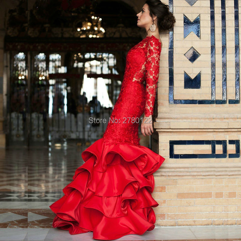 Red-Satin-Lace-Ruffles-Mermaid-Evening-Dresses-2016-Sexy-Backless-Chapel-Train-Formal-Gowns-Vestidos-De (2)