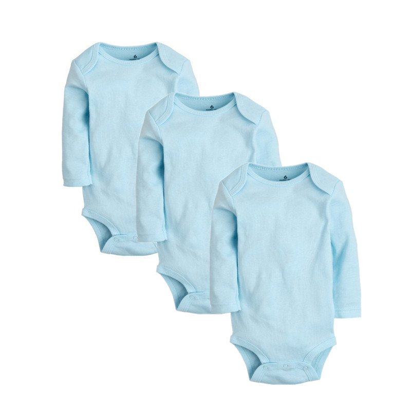3PCS Baby Rompers Cotton Baby Girl Clothes Solid Long Sleeve Baby Boy Clohes Newborn Bebes Jumpsuits Unisex Infant Clothing Set