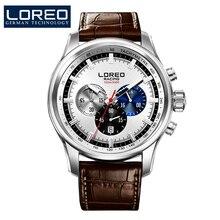 LOREO Гоночной серии speedmaster военная кварцевые часы многофункциональный Хронограф коричневый Кожаный ремешок relogio masculino