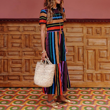 Summer Dress Women Fashion Boho Short Sleeve Ruffles Rainbow Stripe Print Maxi modis Casual Beach vestidos H30