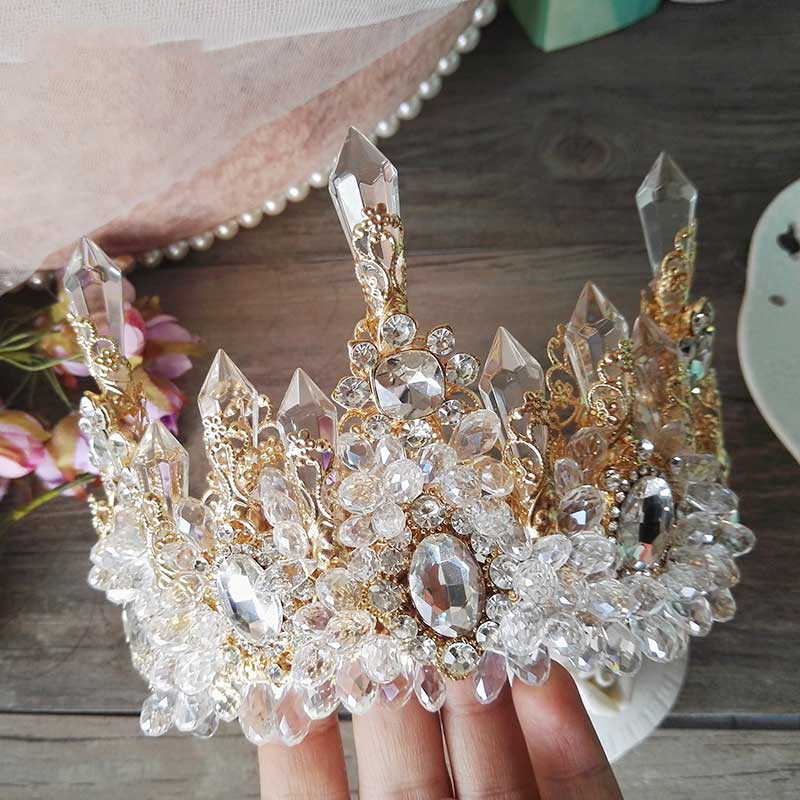 Image 3 - HIMSTORY Wedding Bridal Prom Princess Clear Crystal Rhinestone Pearl Tiaras Crown Hairband Bridal  Wedding Crown Hairwear-in Hair Jewelry from Jewelry & Accessories
