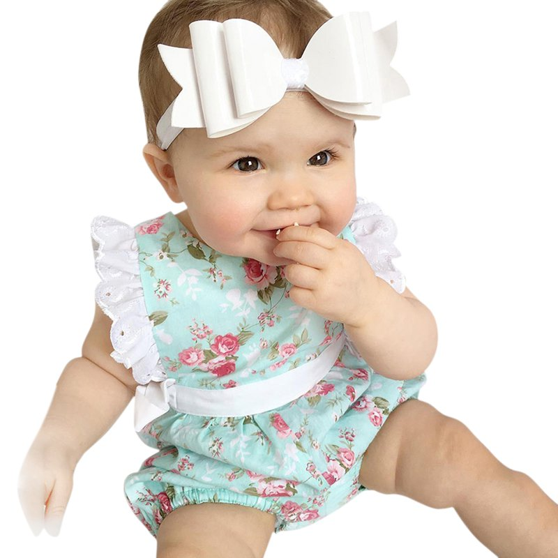 0-24M Newborn Baby Girl Lace Bodysuits Floral Jumpsuit Outfits Infant Toddler Baby Cloth 1Pcs