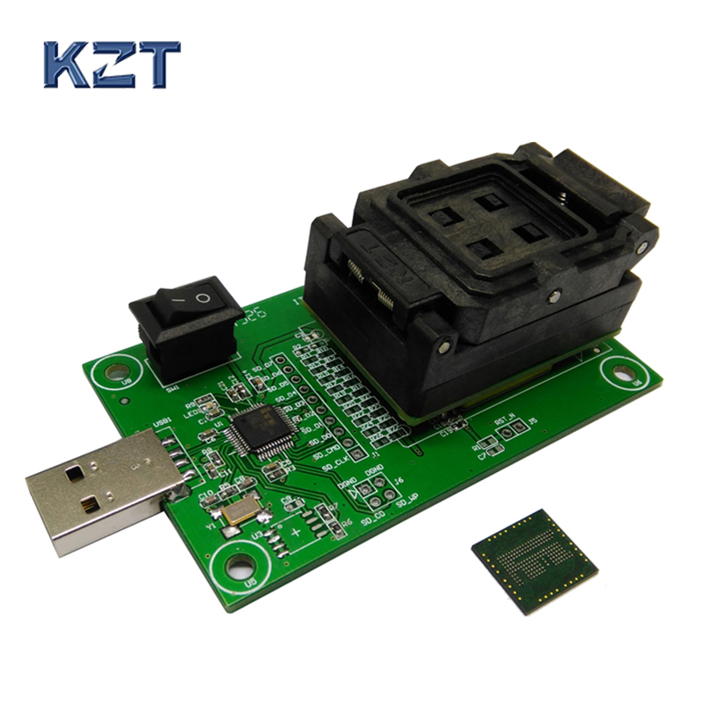 eMCP162 Socket to USB, for BGA162 BGA186 testing, Chip Size 11.5*13mm, eMCP programmer Clamshell Test Socket For Data Recovery free shipping program ch2015 usb high speed programmer 300mil fp16 to dip8 socket eeorom spi flash data flash avr mcu programmer