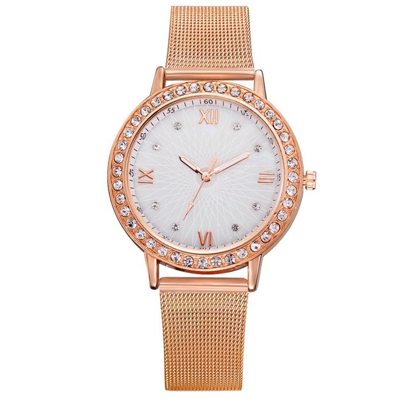 Women Luxury Watches Elegant Ladies Rose Gold Alloy Belt Quartz WristWatches Diamond Bracelet  Relogio Feminino