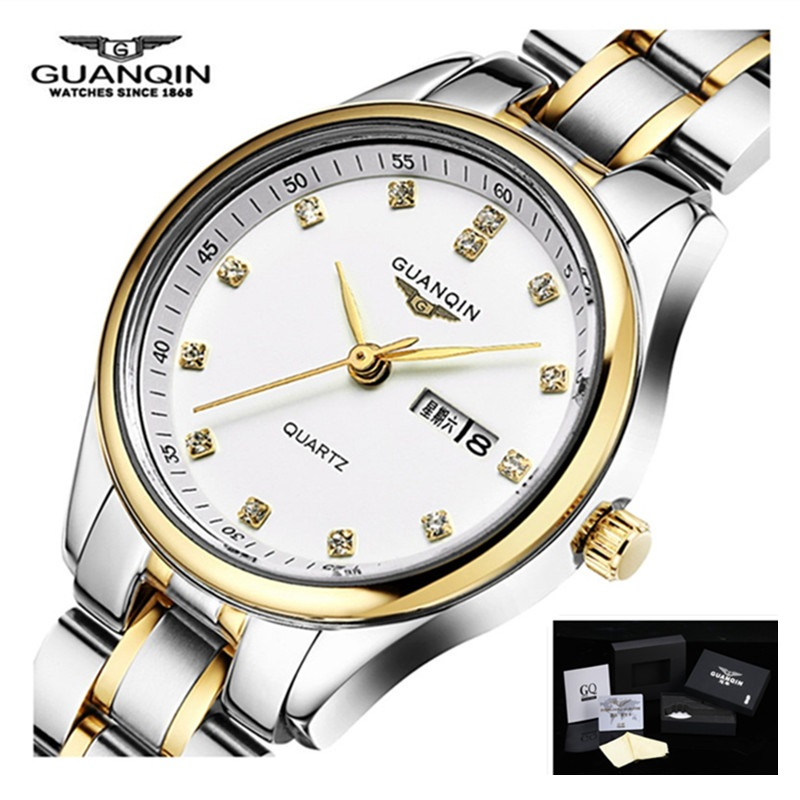 GUANQIN Women Watch Dual Calendar Diamond Women Dress Rhinestone Quartz Watch Fashion Luxury Brand Women's Watch Montre Femme цена