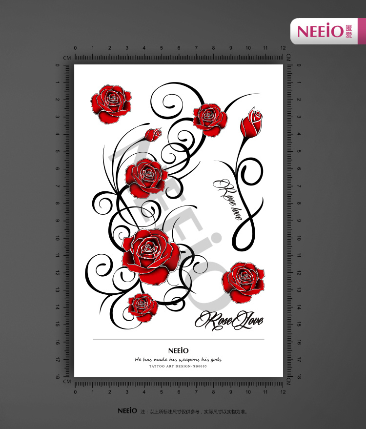 Red Rose Tattooing Body Temporary Tattoos Stickers Waterproof Red