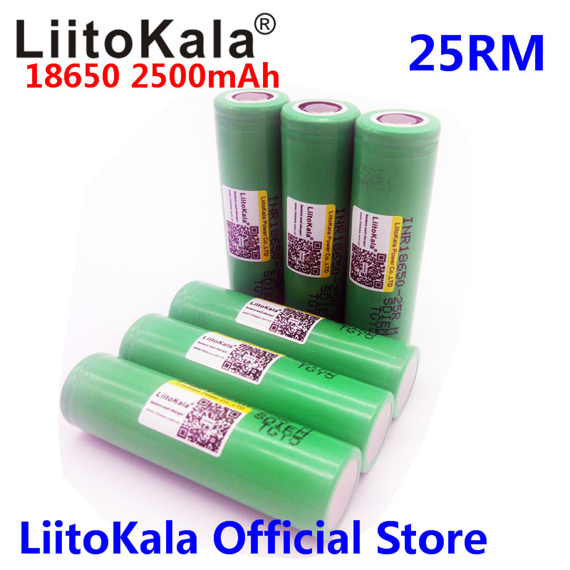 Liitokala For Samsung 18650 2500mah INR1865025R 20A discharge lithium batteries electronic cigarette Battery 18650 2500 25R
