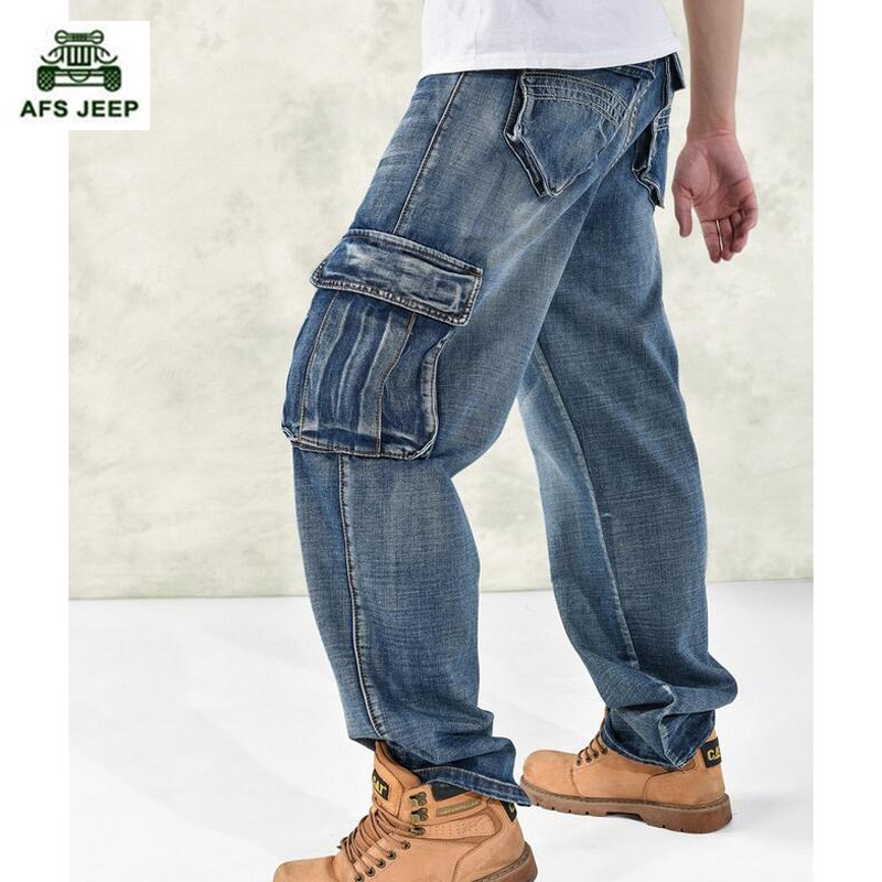 Man loose jeans hiphop skateboard jeans baggy pants denim pants hip hop men ad rap jeans  big size 30-46 2017 men s black baggy jeans hip hop designer brand skateboard pants loose style plus size 30 46 hiphop rap jeans