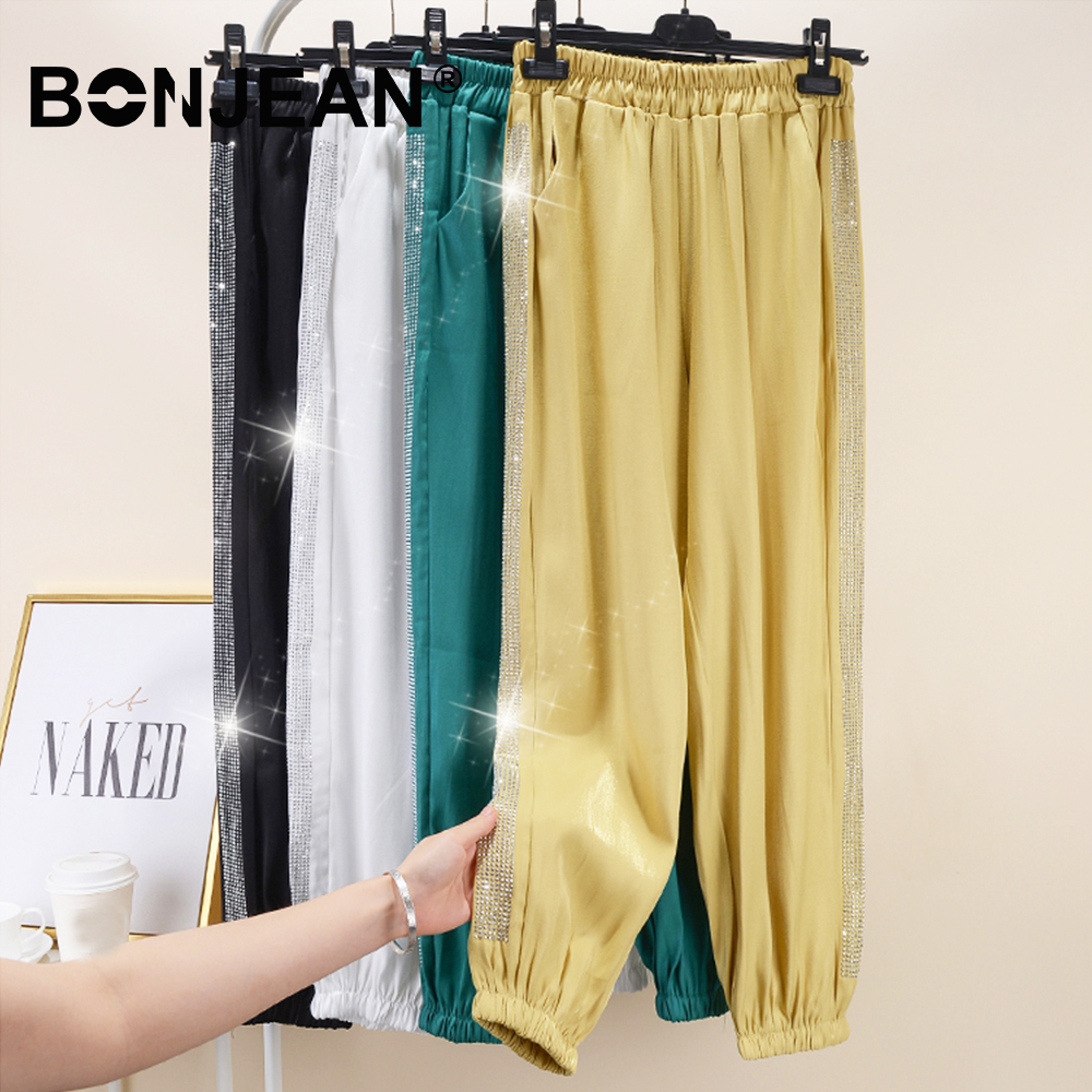 2XL Sequin Pants Black Yellow Green White Trousers Baggy Casual Harem Pants Women Sweatpants Jogger Mujer Summer Spring Z148