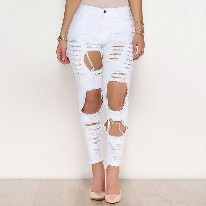Hole ripped jeans women pants Cool denim vintage jeans for girl high waist hole jeans casual pencil pants female 2017 woman classic vintage jeans womens loose casual fringed false two piece cool denim jeans girl for women high waist pants
