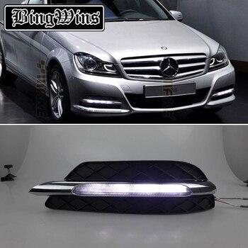 Car styling DRL kit For Mercedes-Benz W204 C200 C260 C300 2011 2012 2013 LED Daytime Running Lights bar daylight auto fog lamp