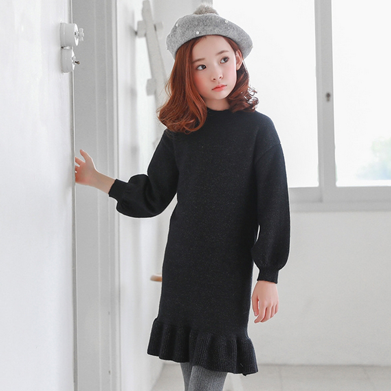Baby Girls Dress Autumn Long Sleeve Girl Solid Dresses Cotton Knitted Children Clothes Toddler Girls Wool Sweaters Outerwear w l monsoon baby girls autumn dress long