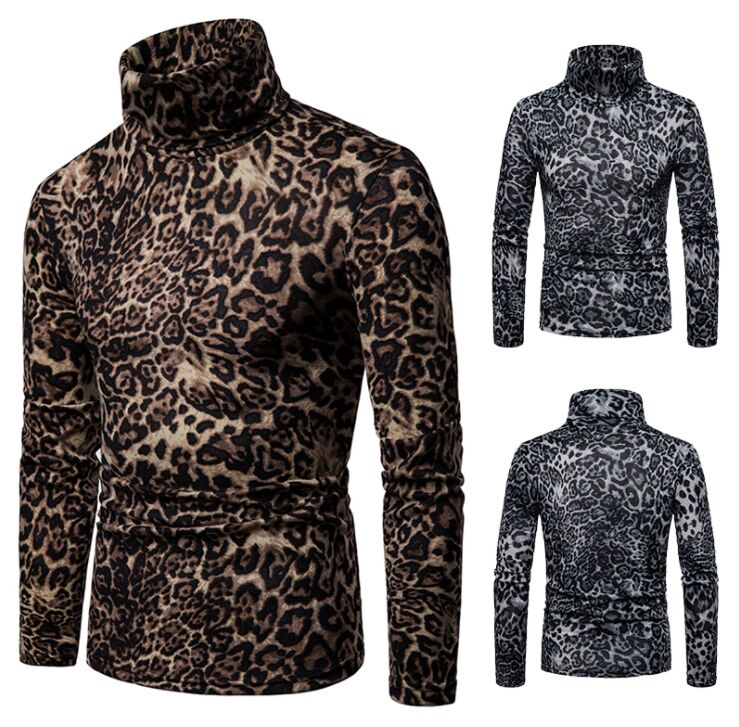 Sweaters Man Clothing Pullover Turtleneck Knitted Slim Male Men's Fashion Print Leopard