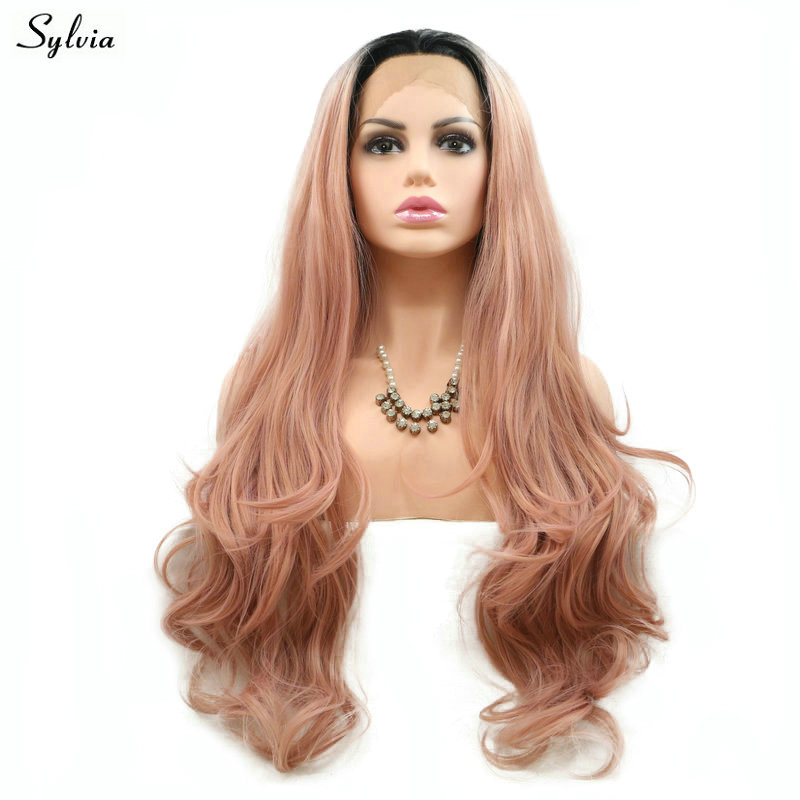 Sylvia Ombre Natural Wavy Wigs Rose Gold Pink Wig Synthetic Lace Front Wigs Heat Resistant Fiber Hair With Dark Roots For Women