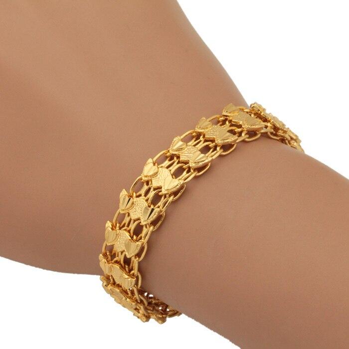 New Design Heart Bracelet Gold Color Chain Bracelet Fashion Bangle ...