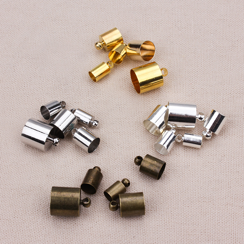50pcs/lot  5*10mm  Rhodium Gold Silver Bronze Necklace Leather Cord End Caps Tassel Crimp End Connector DIY Jewelry Findings