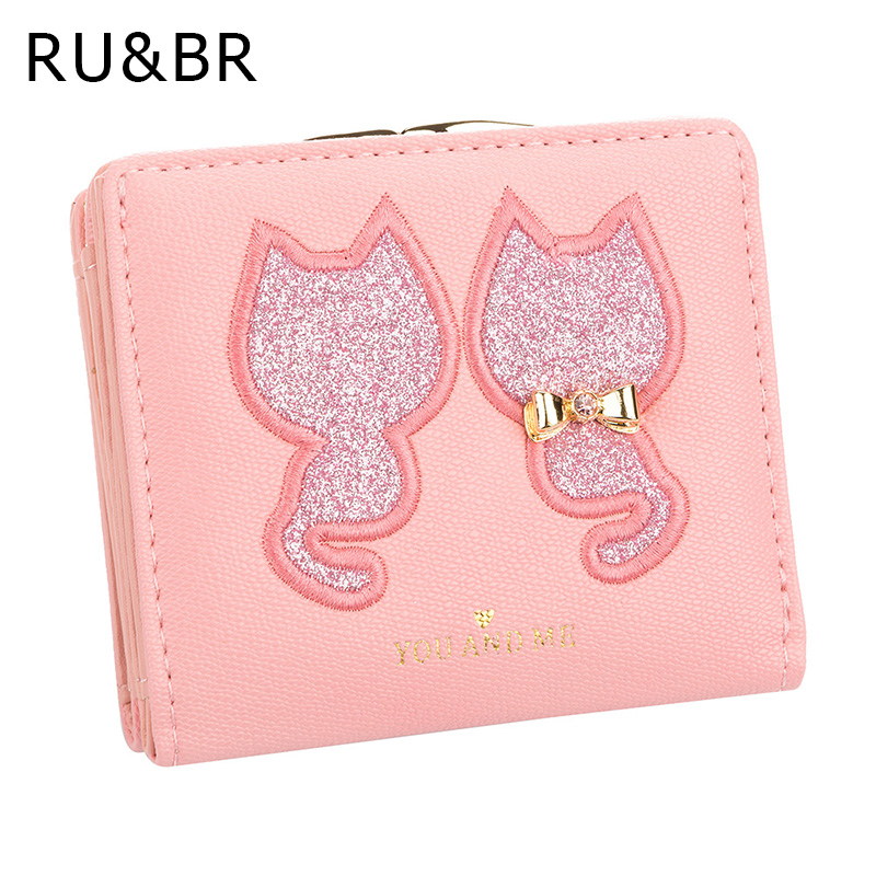 RU&BR PU Leather Women's Wallet Short Section 2 Fold Solid Color Womens Wallets Lovely Embroidery Cat Pattern Small Wallet jayaprakash arumugam and mohan s egg removal device for the management of stored product insects