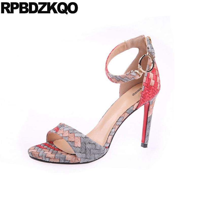 Women Sandals 2018 Summer Lady Shoes Ankle Strap Pumps Korean Stiletto High Heels Fashion Open Toe Elegant Designer Mixed Colors ankle strap chunky elegant cool designer pointed toe pink high heels sandals women fashion 2018 summer shoes cross pumps closed