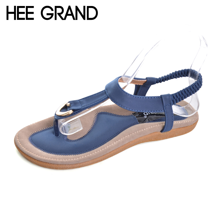HEE GRAND  Bohemia Flip Flops Summer Gladiator Sandals Beach Flat Shoes Woman Comfort Casual Women Shoes Size 35-42 XWZ4429 hee grand gladiator sandals summer style flip flops elegant platform shoes woman pearl wedges sandals casual women shoes xwz1937
