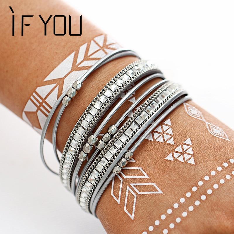 IF YOU Multilayer Silver Color Leather Bracelets Bangles Fashion Charms Crystal Bracelets For Women Men Special Bracelet Jewelry
