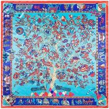 Rich Tree Elephants Print Scarf Silk Feeling 90cm Scarves Match Apparel Accessory Woman Girl s Add