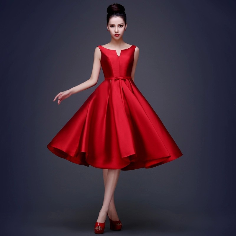 Bateau Knee Length Ball Gown Satin
